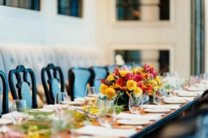 Table with Chairs and Flowers